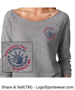 Grey Ladies French Terry Raglan - Embroidered Design Zoom
